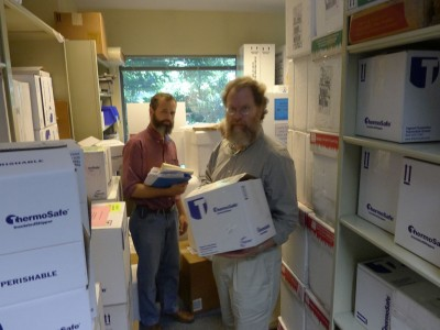 Preparing to ship a few hundred fecal specimens to the lab.