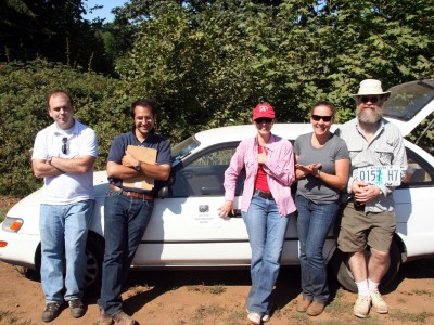 Some of the crew after a day of collecting feces.