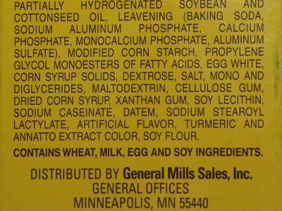 Cake batter mix ingredients.