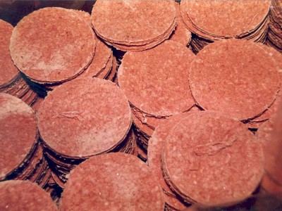 Hamburgers from one of the lots of Jack-in-the-Box burgers implicated in the O157 outbreak.