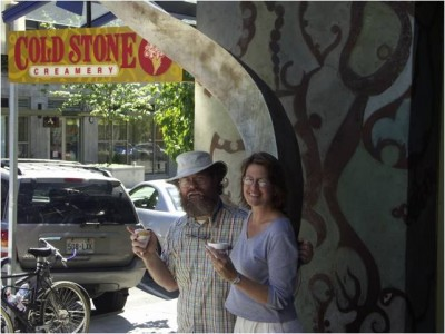 Bill Keene and Chris Van Beneden outside a Cold Stone Creamery in Seattle, WA